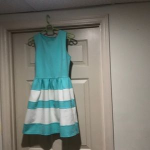 Teal dress with white stripes